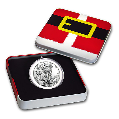 2019 1 oz Silver American Eagle BU - Holiday Tin, Santa's Buckle - SKU#185335