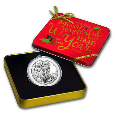2019 1 oz Silver American Eagle BU - Holiday Tin, Wonderful Time - SKU#185332