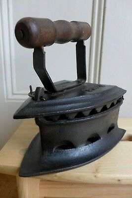 Antique Charcoal Clothing Iron Wooden Handle Decorative Cover Collector