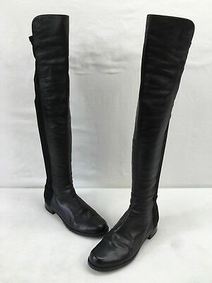 313014a4096 Stuart Weitzman 5050 Black Leather Over The Knee Boots Size 9.5M F4563