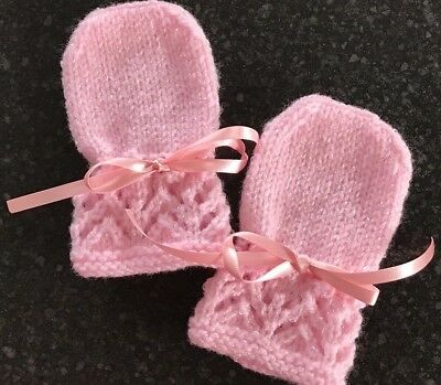 New Hand Knitted Baby Girl's Pink Shimmer  Mittens, Baby Pink  Fits 0-3 Months