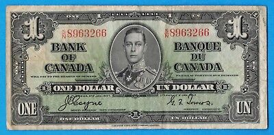 $1 1937 Bank of Canada Note Coyne-Towers S/N Prefix BC-21d - F/VF
