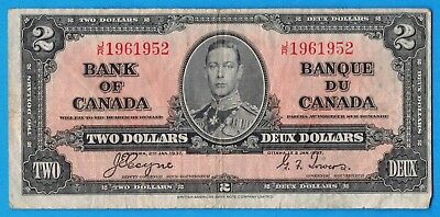 $2 1937 Bank of Canada Note Coyne-Towers J/R Prefix BC-22c - F/VF
