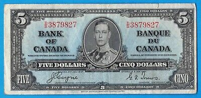 $5 1937 Bank of Canada Note Coyne-Towers D/S Prefix BC-23c - Very Fine