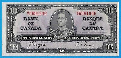 $10 1937 Bank of Canada Note Coyne-Towers H/T Prefix BC-24c - VF/EF