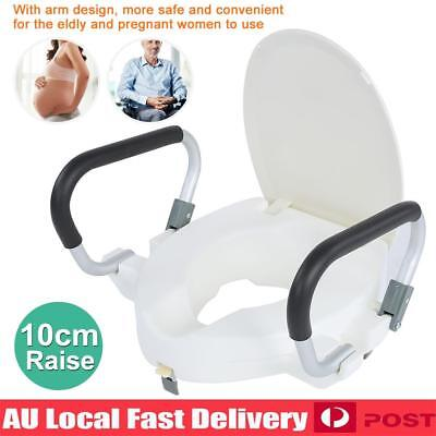 10cm Elevated Raised Toilet Seat With Lid Removable Padded Arms Armrest 150KG