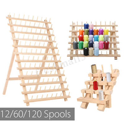 60/120/12 Spools Wood Sewing Thread Rack Stand Organizer Embroidery Storage Hold