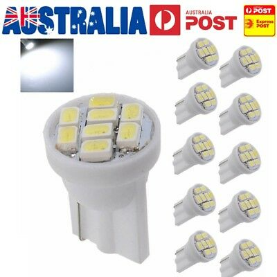 10PCS T10 W5W Super BRIGHT White Car 8 SMD LED Wedge Side Light Bulb DC 12V AU