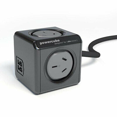 Allocacoc 1.5m PowerCube Extension Cord 4 Outlets w/2 USB Charger/Charging Ports