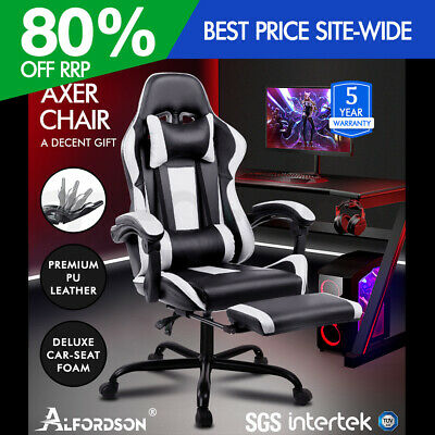 ALFORDSON Gaming Office Chair Executive Racing Footrest Seat PU Leather White