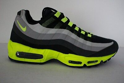 Nike Air Max 95 No Sew Retro Men s Leather Mesh Running Shoes Volt Charcoal 1836f4124