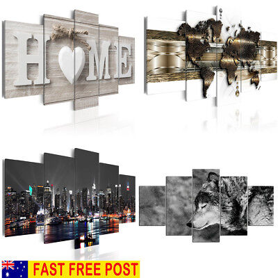 AU 1/5PCS Huge Modern Canvas Print Pictures Painting Art Wall Home Decor Craft