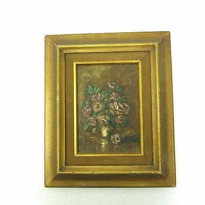 Vintage Small Romantic Floral Pink Cabbage Roses Still Life Painting Signed
