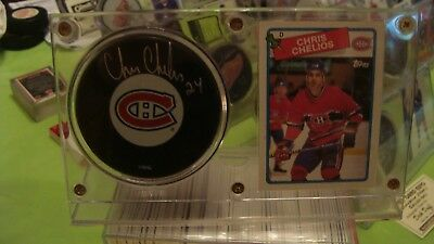 CHRIS CHELIOS AUTOGRAPH MONTREAL CANADIENS PUCK with STAND AND CARD...BEAUTIFUL