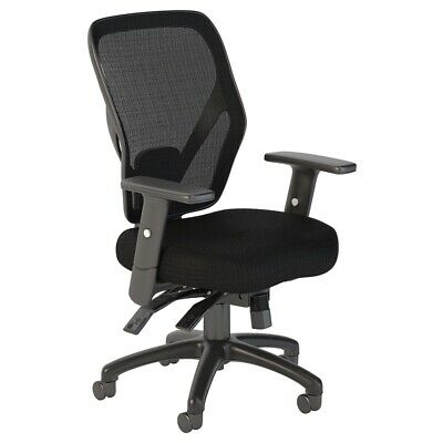 Bush Business Corporate Mid Back Multifunction Mesh Office Chair in Black Nylon
