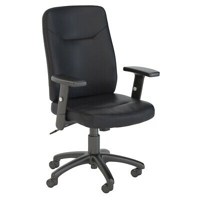 Bush Business Stanton High Back Leather Executive Office Chair in Black