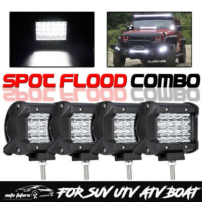 """4x 4"""" 800W LED Work Light Pods Cube Spot Flood Offroad Driving Tri Row For Jeep"""