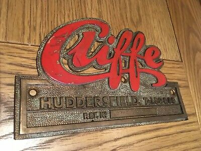 "Vintage old industrial Cast Brass Machine Plate ""CLIFFE"" Huddersfield"