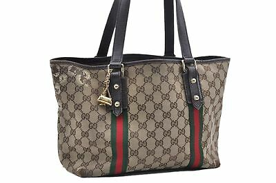 8ae887bbb71 Authentic GUCCI Web Sherry Line Shoulder Tote Bag Canvas Leather Brown 67851
