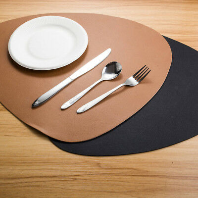 Set of 4 6 8 Faux Leather Placemats Dining Table Place Settings Mats Black Tan