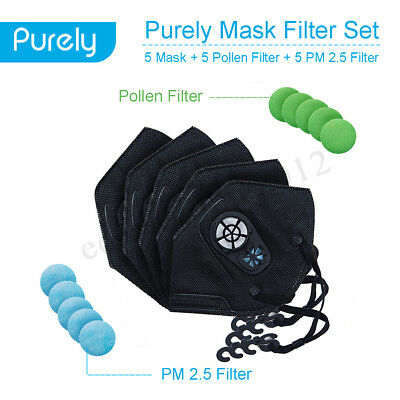 Purely Anti-dust 5 Cotton Mask + 5 PM2.5 Filter + 5 Pollen  Anti-fog Filter Set