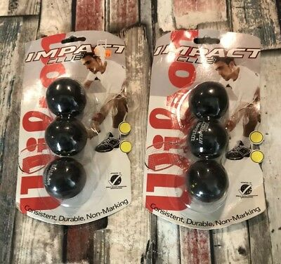 Wilson Impact club - Squash Balls - Double Yellow Dot WSF Approved Pack of 3 x 2