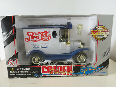 1993 Golden Wheel Pepsi Cola Truck Gift Bank! NEW! Factory Sealed! with Key
