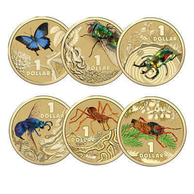 AUSTRALIA 2014 $1 Bright Bugs Set of 6 inc Ulysses Butterfly Blowfly Stag Beetle
