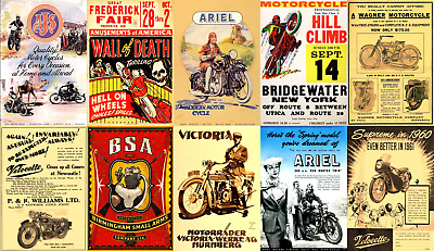 Print & Sell 100 Wonderful 'Print Ready' Vintage Motorcycling Ads - FREEPOST!