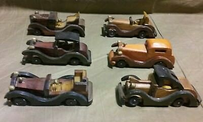 Six Vintage Wooden Handmade Classic Car Collection Handcrafted Antique model Toy