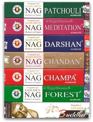 """12 Fragrances"" YOU CHOOSE Vijayshree Incense Sticks 15gm Golden Nag Masala ॐ"