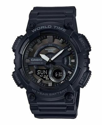 Casio AEQ110W-1BV, Digital/Analog Combo, 3 Alarms, 30 Telememo, Resin