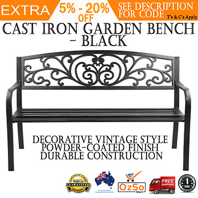 Outdoor Bench Vintage Cast Iron Black Garden Patio Park Chair steel Yard Seat