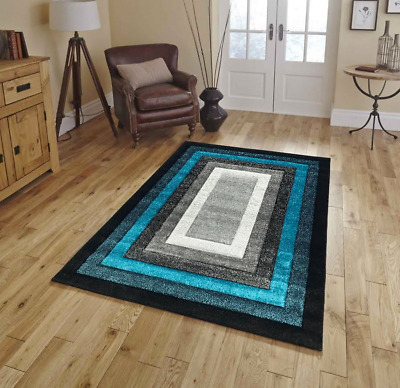Large Silver Teal Black Modern Living Room Rugs Hall New Runners Small Rug Mats
