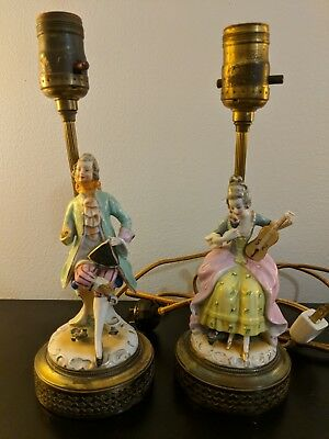 Pair of FRENCH STYLE Porcelain FIGURINE BOUDOIR TABLE LAMPS with Shades.