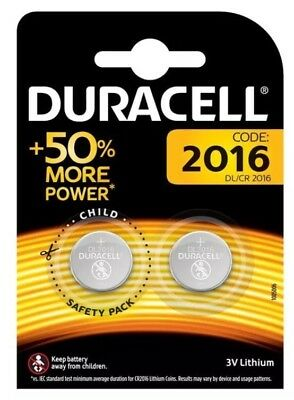2 x Duracell CR2016 3V Lithium Coin Cell Battery DL2016 Free P+P