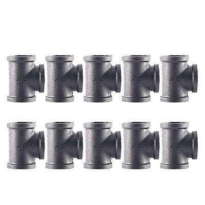 "10 Pack Black Malleable Iron Pipe Tee 3 Way 3/4"" FIP FPT NPT Female Fitting"