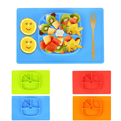 New One-Piece Silicone Child Toddler Kid Safe Baby Food Divided Bowl Placemat