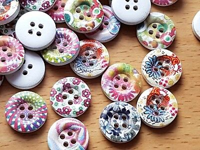 20 Mixed Floral Wooden Round FLOWER SEWING BUTTONS 4 HOLE 15mm - Crafts