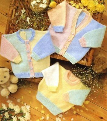 Baby knitting pattern Jumper & CARDIGANS DK  Includes PREMMIE Size