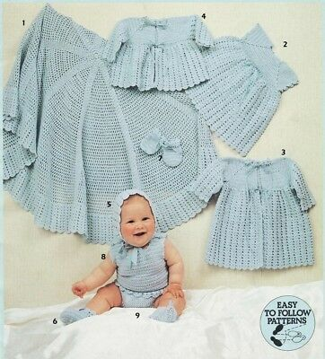 Baby  CROCHET  Pattern copy 3 Ply LAYETTE includes SHAWL