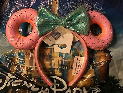 Walt Disney World Donut Ears Minnie Mouse Glitter Bow Sprinkle Headband New
