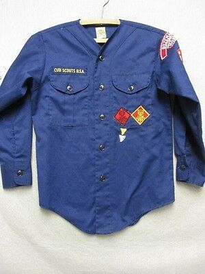 Z4577 Boy Scouts of America Official Shirt blue with patches button up