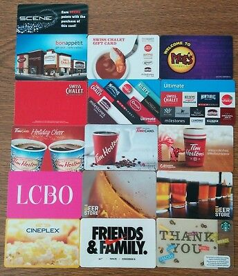 Collection GIFT CARDS various Fast Food and Retail - no value