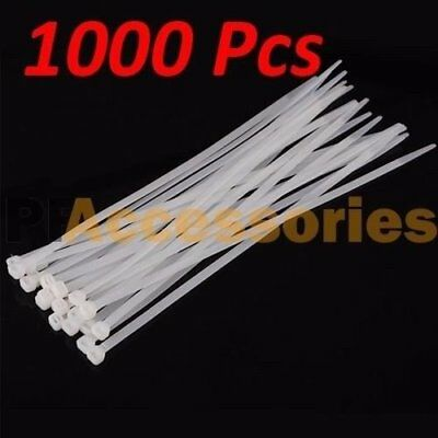 """1000 Pcs 8"""" inch Cable Cord Wire Zip Ties Strap 50 lbs UV Nylon Outdoor Lot Pack"""