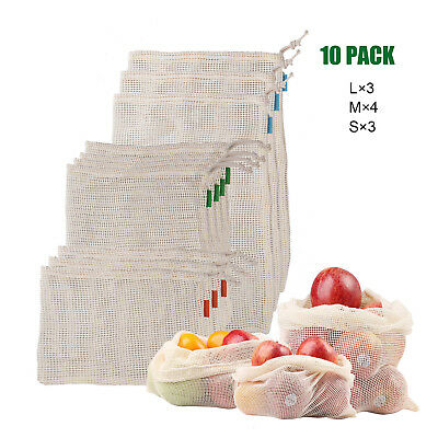 10PCS Reusable Natural Cotton Mesh Produce Bags Grocery Storage Shopping 3 Size