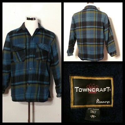 Penny Towncraft Vintage 1960's Cotton/Wool Coat Men's Med. Plaid Inv#S9442