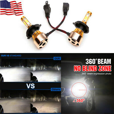 4-Side LED Headlight 2300W 295000LM Conversion Kit High Lo Beam Bulb H4 HB2 9003