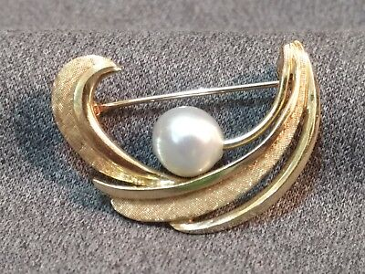 Beautiful Estate 14K Yellow Gold Tahitian Pearl Freeform Brooch Pin