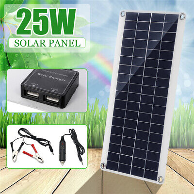 10/15/20/25W 12-18V Solar Panel DC/Dual USB Battery Charger RV Boats Traveling